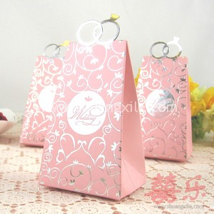 Pink Diamond Ring Wedding Candy Box (25pcs)